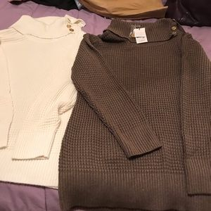Calvin Klein thigh length knit cowl neck sweaters